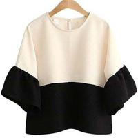 Off White Round Neckline Ruffle Sleeve Top with Color Black Details