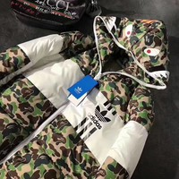 Bape Shark + Adidas Fashion Zipper Cardigan Hooded Jacket Coat Windbreaker
