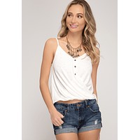 Women's Ribbed Front Twist Cami Tank