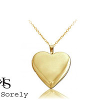 Golden Heart Locket Necklace - customize it with your photos -Gold Overlay