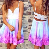 Galaxy Backless Summer Dress