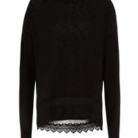 Black Crochet Hem Long Sleeve Top