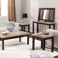 Living Room Table Square Rectangle Set 4 Pc. Marble Wood Italian Contemporary