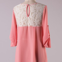 Quarter Sleeve Top with Lace Back - Peach