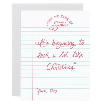 Beginning to Look a lot like Christmas letterpress card