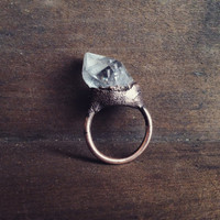 Quartz Point Ring - Statement Ring - Unique Ring - Raw Stone Ring - Copper Ring - Semiprecious Stone Ring - SIZE 7