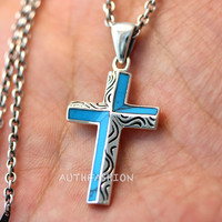 Sterling Silver Turquoise Cross Pendant Necklace 925 Chain Gift Idea Birth Stone