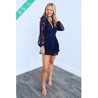 Lace Forever Romper: Navy