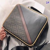 GUCCI & Fendi Fashion new  more letter print leather couple business casual crossbody bag shoulder bag briefcase bag 1#