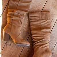 Tyson Stretch Suede Knee High Ruched Boot w/ High Chunky Heel, Coffee
