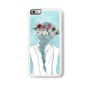 Flower crown girl illustration on blue for iPhone 6 Plus