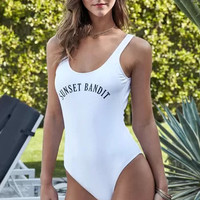 White Letters Printed One Piece Swimsuit Bathing Suit