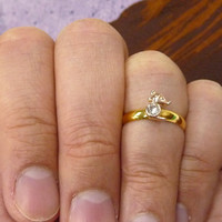 A tiny gold plated mousey mult-task ring, above knuckle ring,adjustable finger ring,stackable ring, toe ring, little finger ring