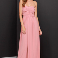 Royal Engagement Strapless Dusty Rose Maxi Dress