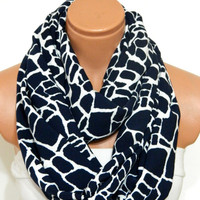 Dark blue scarves, Infinity Scarf,nomad scarf,,Loop Scarf,Circle Scarf, zebra patterned cotton fabric Scarf,Cowl Scarf, Eternity Scarf