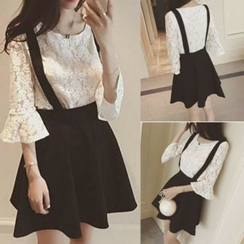 S-XL White/Black Elegant Two-Piece Top/Suspender Skirt SP166112