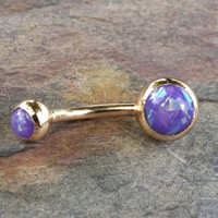 Purple Opal Belly Button Jewelry Ring Synthetic Opal