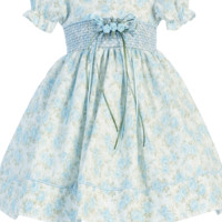 Light Blue Floral Print Cotton Baby Girls Dress w. a Smocked Waist 3M-24M