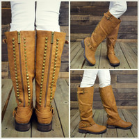 Easy Rider Tan Studded Zipper Riding Boots