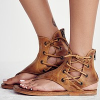 Vintage  gladiator leather sandals with zip up back