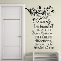 Wall Decals Quote  Our Family Like Branches In A Tree Vinyl Stickers Decal Kids Nursery Family Home Bedroom Decor  T33
