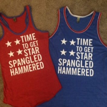 Star Spangled Hammered - Ruffles with Love - Racerback Tank - Womens Fitness - Workout Clothing - Workout Shirts with Sayings