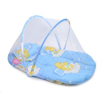Portable Travel Foldable Baby Crib With Mosquito Net Padded Mattress n Pillow Tent Bed Shelter