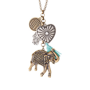 Aeropostale  Elephant Tassel Cluster Long-Strand Necklace