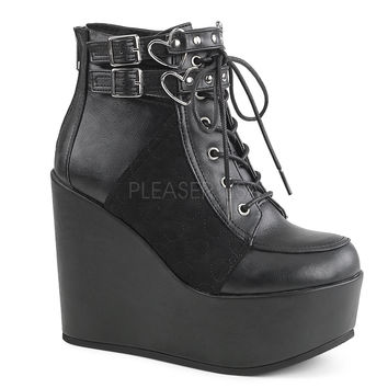 """Poison 105 Leatherette Heart Buckle Ankle Boot 5"""" Wedge"""