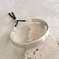 Bar and Rope Cuff Bracelet - Brushed Silver Tone Finish