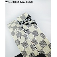 Inseva Louis Vuitton LV fashionable belt for men and women hot seller of checked belts White Belt+Silvery buckle