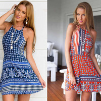 Casual Backless Halter Dress