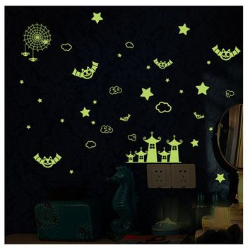 New Fluorescence Wall Stickers Cartoon Small Castle DIY glow in the dark wall stickers for kids rooms
