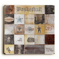 Basketball Collage by Artist Peter Horjus Wood Sign