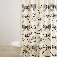 Bow-Tie Shower Curtain by Anthropologie in Black Motif Size: One Size Shower Curtains