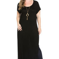 Side Slit Black Maxi Dress Plus Size