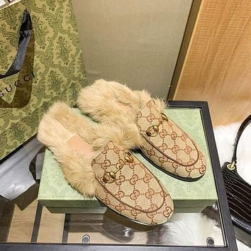 GG Princetown Fur-Lined Leather Slipper Shoes