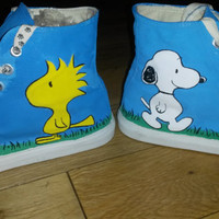 Snoopy and Woodstock Peanuts Inspired Handpainted Converse Style Baseball Shoes UK size 6.5 EU 40 US 8.5
