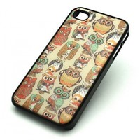 BLACK Snap On Case IPHONE 4 4S Plastic Cover - OWL OVERLOAD cute eyes multi bird animal feather girly hipster dreamcatcher