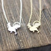 Min 1pc Gold and Silver Plated Cock Shape Pendant Necklace Funny Walking Chicken Necklaces XL113