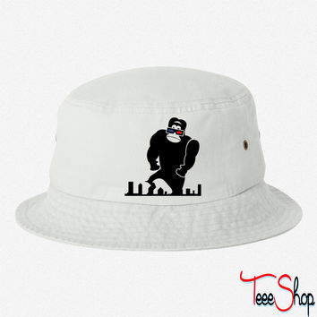3D GORILLA RAMPAGE GEEK LIKES TO TRASH THIS CITY bucket hat