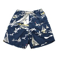 Nautica Blue Yachts and Seagulls All Over Print Swim Trunks Mens Size Small
