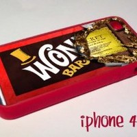 Red Willy Wonka Chocolate Bar Golden ticket iPhone 4 4s Case Cover Rubber silicone