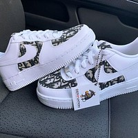 Nike Air Force 1 x Dior Print Contrast Shoes Women Men Trending Shoes White+Black