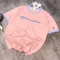 Champion Classic Popular Women Men Embroidery T-Shirt Blouse Pink
