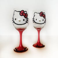 Hello Kitty Wine Glass - set of 2 glasses - red stem - 20 oz