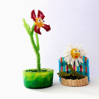 Beaded figurines set Natalie the Camomile and George the Flower - cute seed bead plants - funny gift idea for wedding anniversary friendship