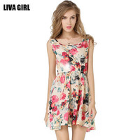 [ On Sale ] Summer Chiffon Floral Printed Floral Printed Sleeveless One Piece Dress Top Women Tank Vest _ 3196