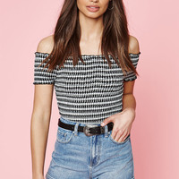 Kendall and Kylie Smocked Off-The-Shoulder Crop Top at PacSun.com