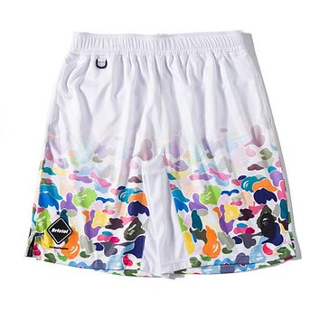 BAPE AAPE Summer Popular Men Print Sports Running Shorts White